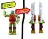 Figurka nebo zbraň? Želvy ninja nabízí oboje v jednom! Z 15cm vysoké figurky se šmahem stanou nunchaky nebo díky nebo meč!